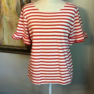 J. Crew Top - Red and White Stripes - Size Large